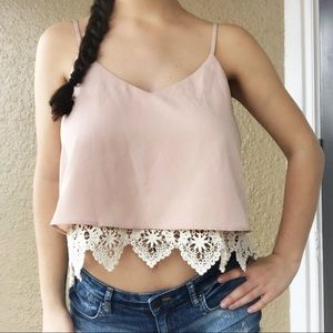 3/$20🌸 Forever 21 Tank Top Lace Swing Blush Pink